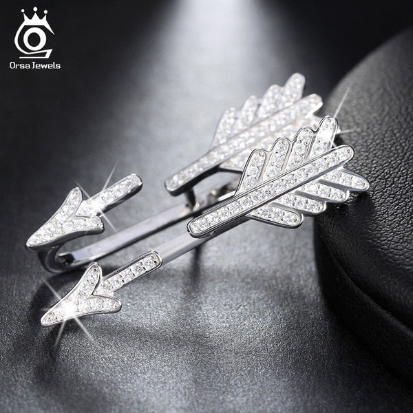 Luxury Arrow 925 Sterling Silver Earrings with 51-Pcs Shiny Austrian Rhodium Crystal
