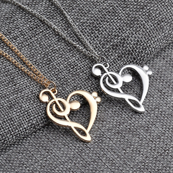 Minimalist Simple Hollow Heart Shaped Musical Note Pendant Necklace
