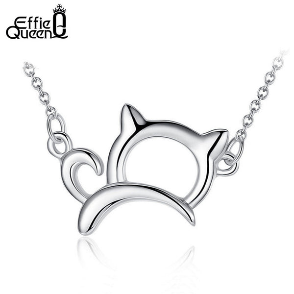 Cute & Lucky Platinum Plated Cat Necklaces and Pendants