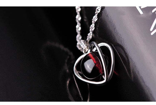 Natural Garnet Elegant Pendant Necklace with 3 Layer Plated Allergy Free