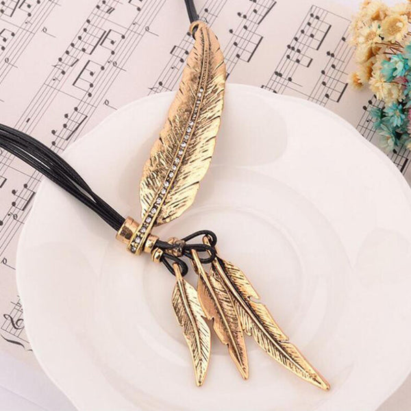 New Bohemian Rope Chain Leaf Feather Pattern Pendant Necklace