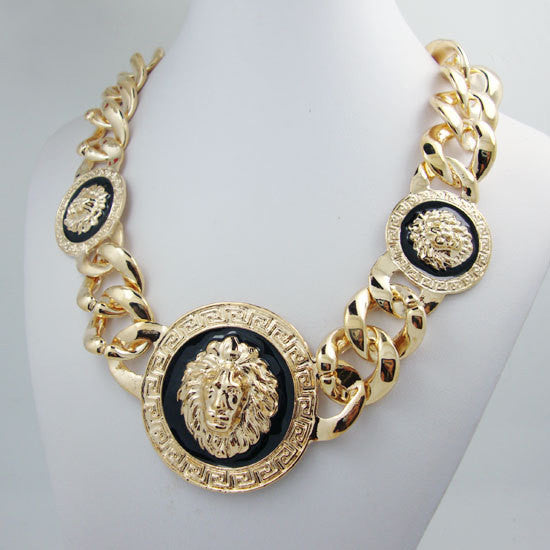 Fashion 3 Metal Cloth Head Chunky Chain Necklace - High Quality Jewelry