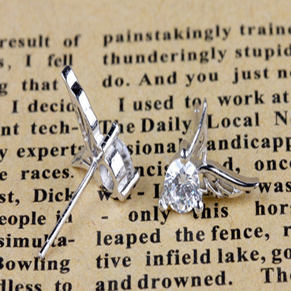Angel Wings Crystal Exquisite Silver Stud Earrings Jewelry