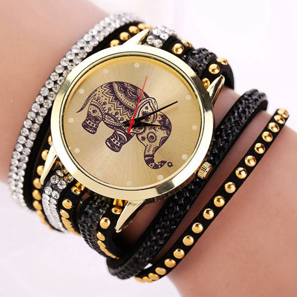 Elephant Pattern Bracelet Watches Classical Jewelry