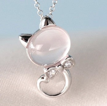 Water-wave Chain Fine Pink Cute Cat  Pendant Necklace Jewelry