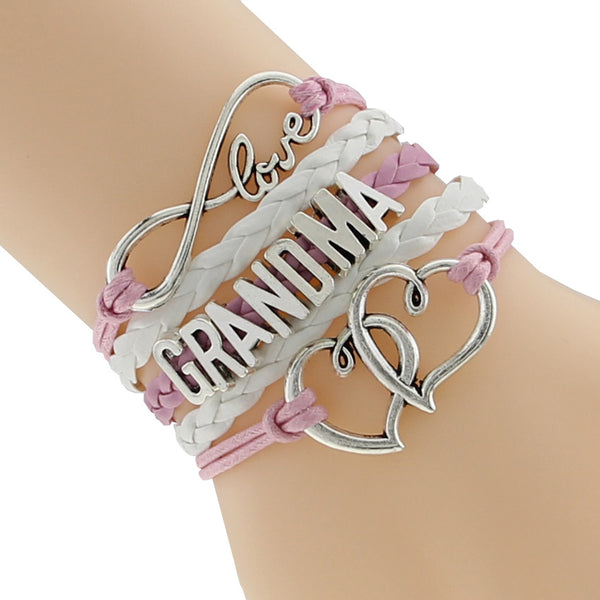 White Leather Charm Heart Love Grandma Bracelet