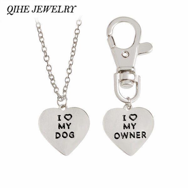 "2pcs/set ""I love my dog, I love my owner"" Heart Charm Necklace And Dog Collar"