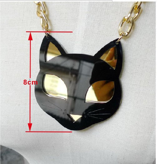 Shinning Eyes Black Cat Pendant Necklace Laser cut Acrylic Statement Animal Neckalce