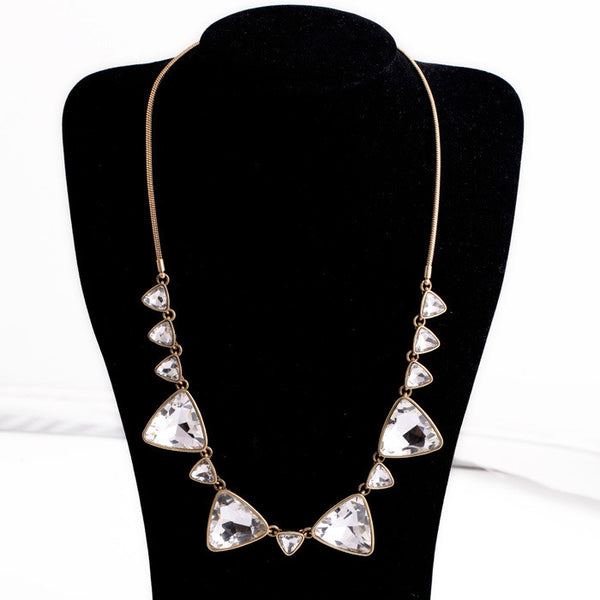 Simple Triangle Inlay Crystal Pendant Necklace Women Vintage Jewelry Factory Wholesale