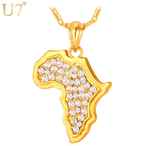 U7 African Jewelry Women/Men Gift Trendy Rhinestone Africa Map Pendant Necklace