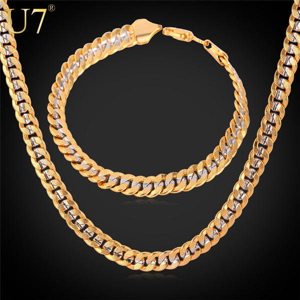 3 Size Cuban Chain Necklace Bracelet Men Jewelry