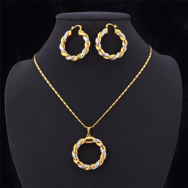 U7 Unique Trendy Round Necklace and Earrings Set