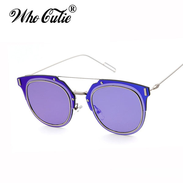WHO CUTIE COMPOSIT 1.0 Sunglasses Men Women Superstar Selena Gomez Justin Bieber Reflected Lens Flat Top Sun Glasses Shades OM56