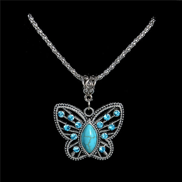 Antique Silver Pendant Crystal Butterfly Turquoise Long Necklace with Sweater Chain