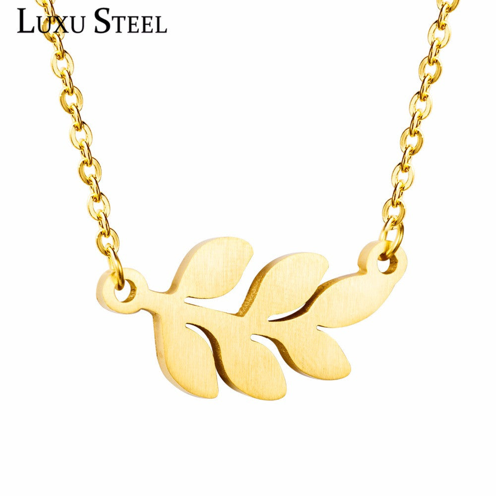 Hot sale fashion leaf pendant, stainless steel necklace with chain