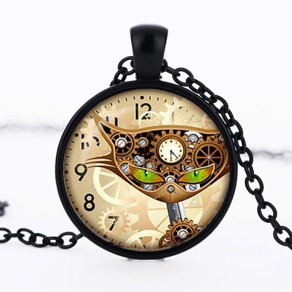 Steampunk cat face clock mechanical pendant necklace
