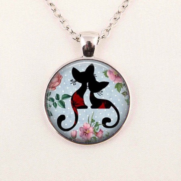 Wholesale Art Glass Cabochon Necklace Cat Kitten Necklace Shabby Chic Cat Round Pendant Girls Glass Cabochon Necklace
