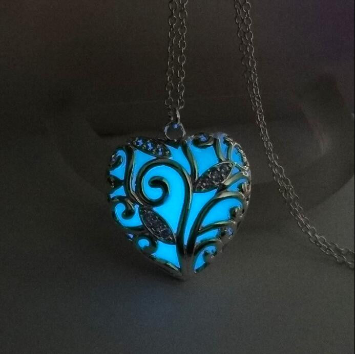 Turquoise Glow In the Dark Heart Necklace