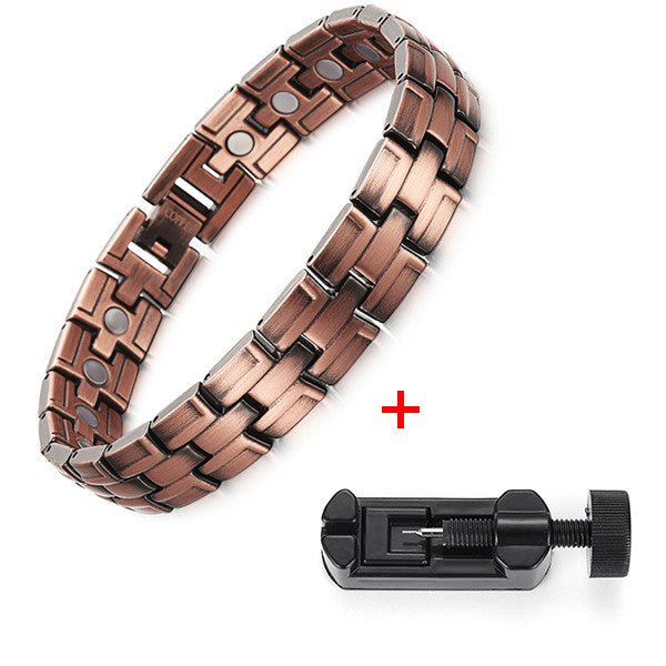 RainSo Men Magnetic Bracelets Red Copper Arthritis Therapy Health Care Bracelets Fashion Jewelry