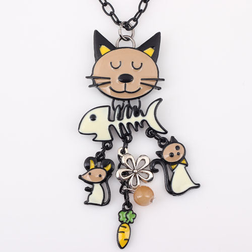 Bonsny Long Chain 2016 Colorful  French Cat Pendant Enamel Necklace - Jewelry For Women Girl