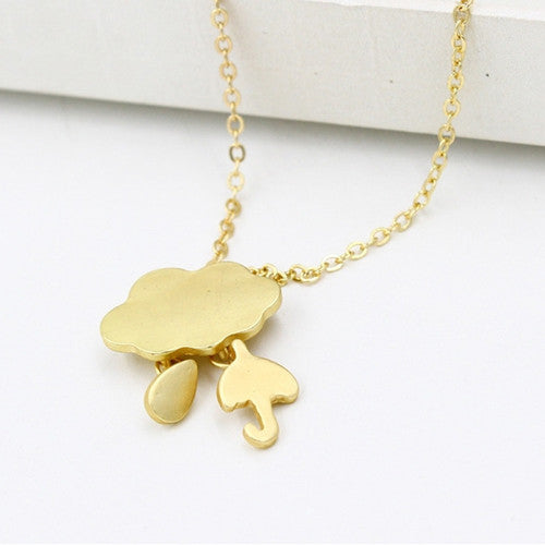Korean Style Cute Pendant Necklace Cloud Umbrella Necklace For Girls Silver Short Necklace New Design Jewelry