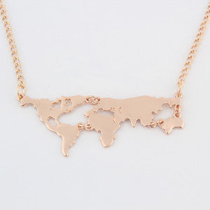 Vintage World Map Pendant Necklace