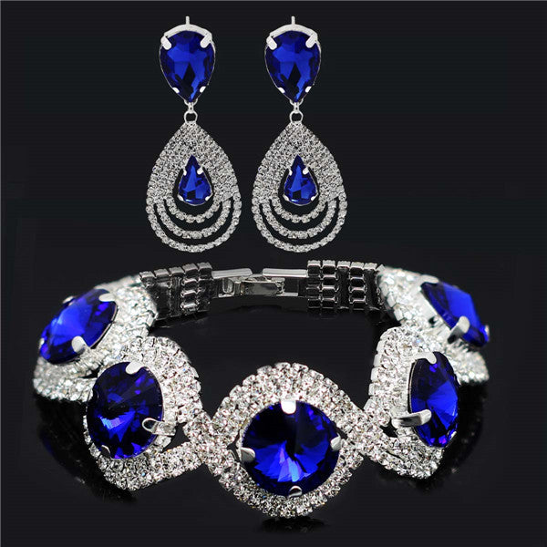 Fashion Wedding Bridal Jewelry Sets -  Rhinestone Austrian Crystal Jewelry Set - Bracelet and Earrings Pendant Set