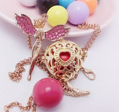 Crystal angel heart ball hollow pattern necklace Jewelry