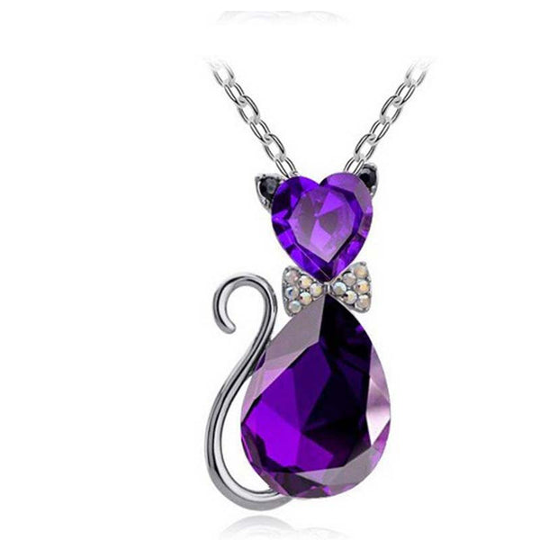 Crystal Cat Link Chain Various Color Pendant Necklace