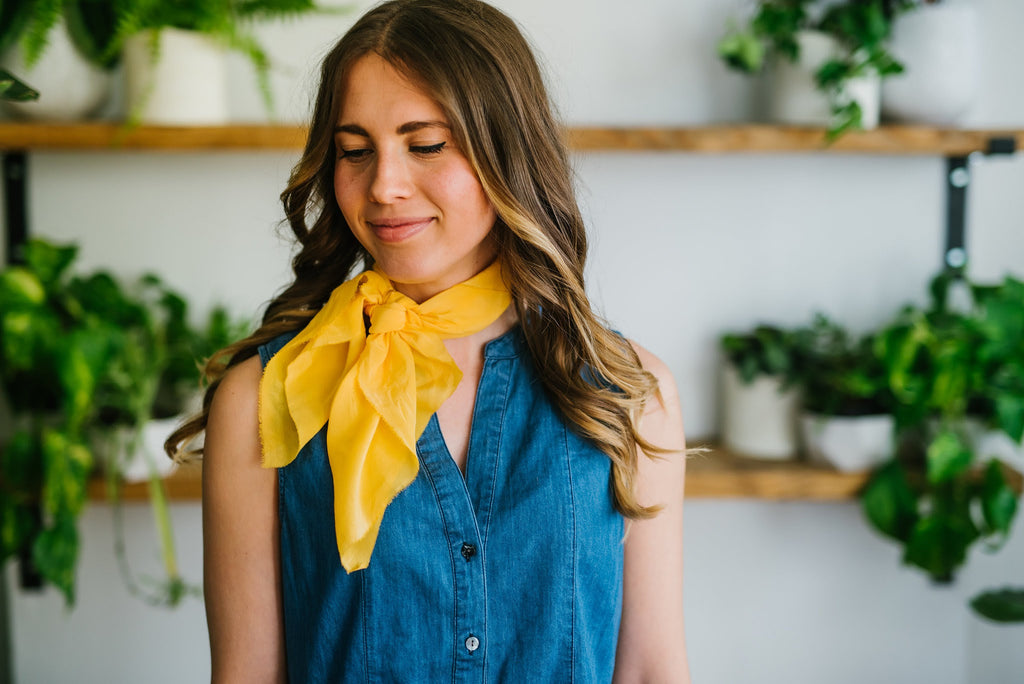 Hand Dyed Scarf Style Guide :: Full Front Tie