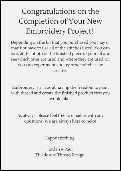 Modern Embroidery Kit Comprehensive Stitch Guide by Thistle and Thread Design