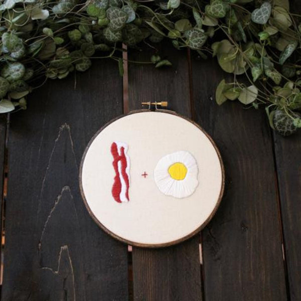 Bacon and Eggs Do-It-Yourself Embroidery Kit Thistle and Thread Design