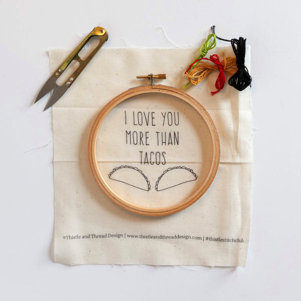 I Love You More Than Tacos Do-It-Yourself Embroidery Kit