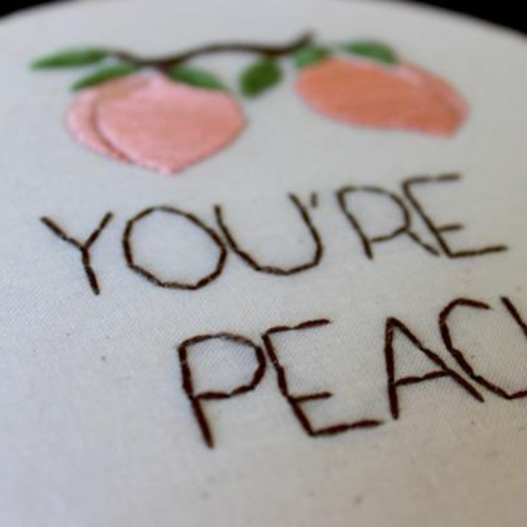 You're a Peach Do-It-Yourself Embroidery Kit Thistle and Thread Design