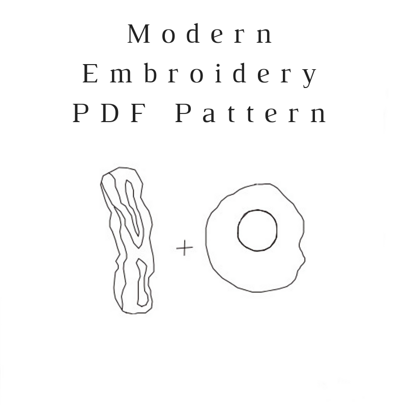 Bacon + Eggs Embroidery PDF Pattern Download