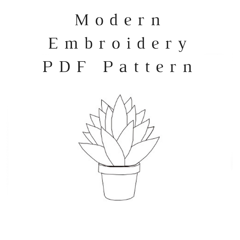 Snake Plant Embroidery PDF Pattern Download