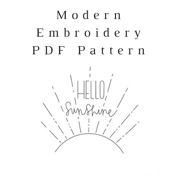 Hello Sunshine Embroidery PDF Pattern Download