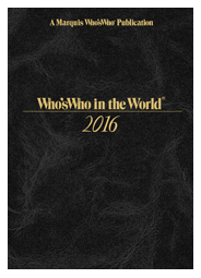 "Who's Who in the World 2016 - 33rd Edition -""Limited Quantities"" - Marquis Who's Who Ventures LLC"