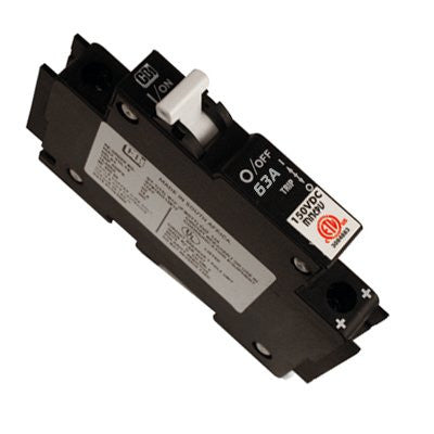 Midnite 1, 2, 3, 4, 5, 6, 7, 8,10, 12, 15, 20, 30, 40, 50 or 63A 150 VDC DIN rail mount breaker (13mm)