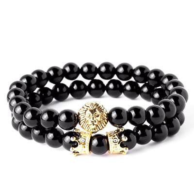 2 pcs/set Lion Head with Crown Bracelet
