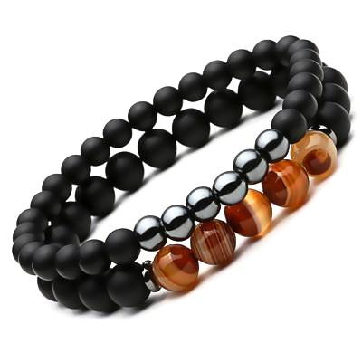 2 pcs/set Black Mantra Prayer Beads Bracelets