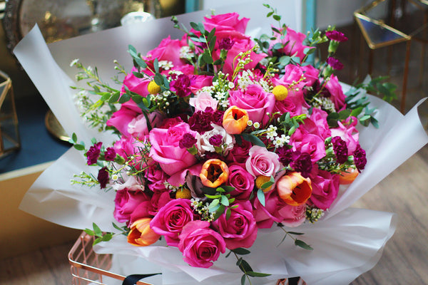 hot pink rose tulip bouquet singapore florist online fresh flowers