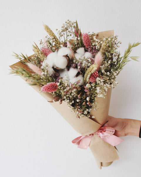dried baby breath bouquet cotton flower wheat oat