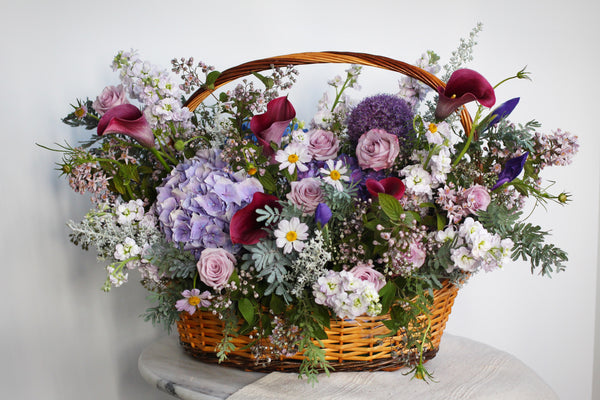 purple flowers basket congratulations opening flowers hydrangea roses calla lilies purple