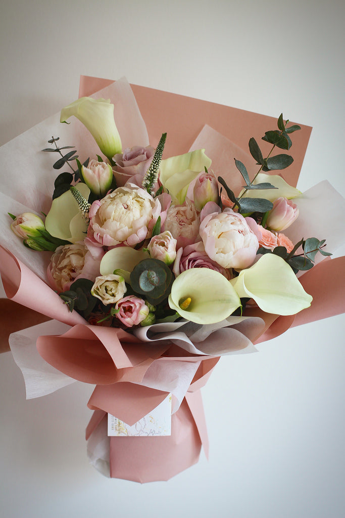 bouquet peonies calla lilies roses tulips fresh flowers singapore florist