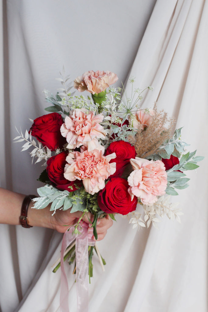 red peach bridal bouquet singapore florist