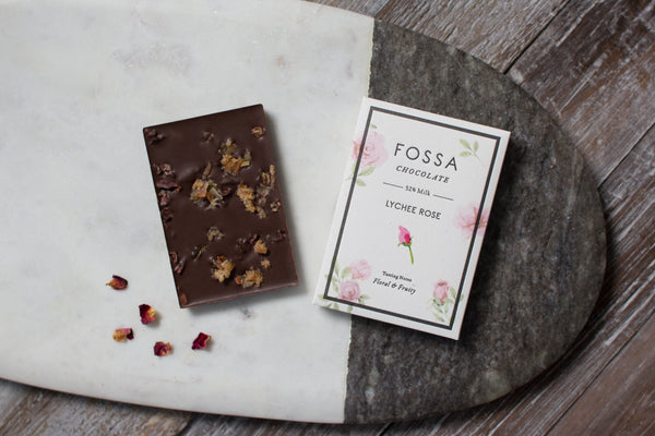 Lychee Rose Dark Milk Chocolate - Fossa Chocolate