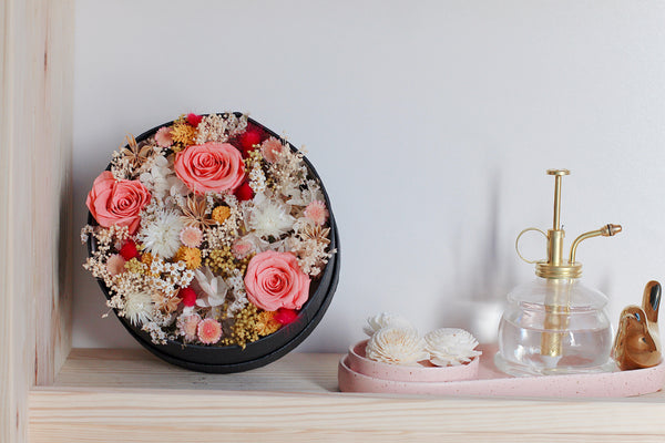 dried flower box pink yellow red preserved roses