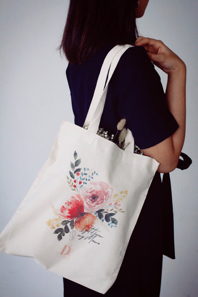 Floral tote bag by Dawn Q.