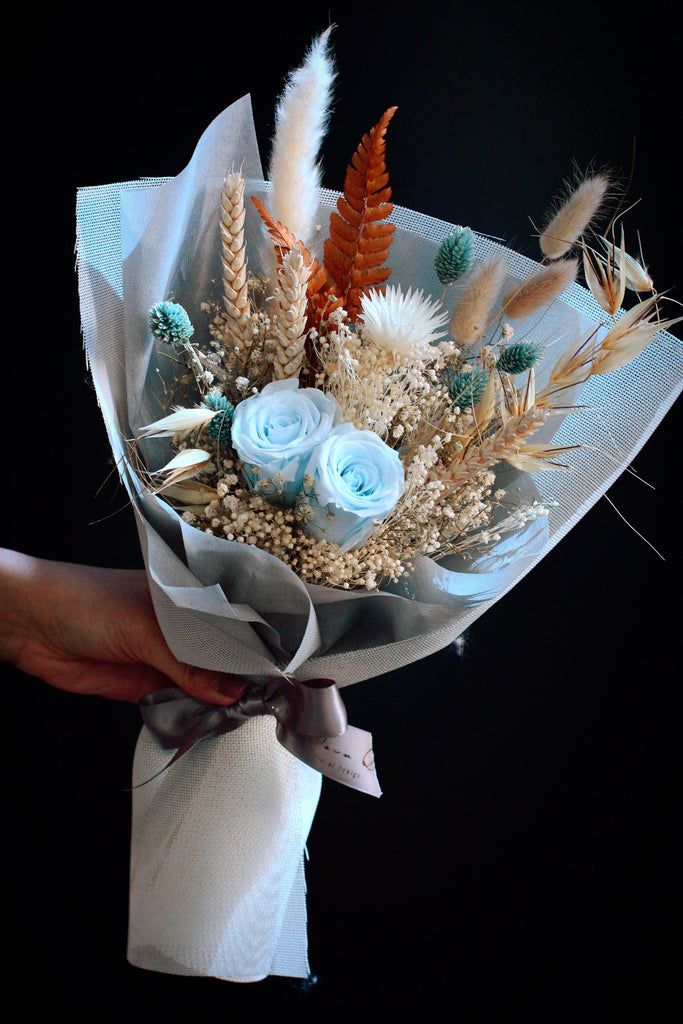 dried preserved blue rose bouquet singapore florist